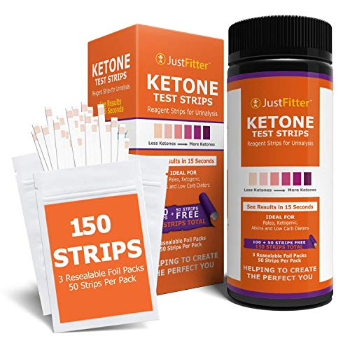 Ketone Keto Urine 150 Test Strips. 3 Resealable Foil Packs of 50 Strips Each. Lose Weight, Look & Feel Fabulous on a Low Carb Ketogenic or HCG Diet. Accurately Measure Your Fat Burning Ketosis Levels.