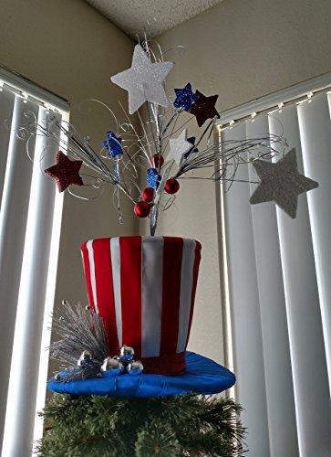 Patriotic Top Hat - Top Hat Tree Topper - Christmas Tree Topper - Top Hat Tree Topper - X Large Top Hat Tree Topper - Christmas Decoration