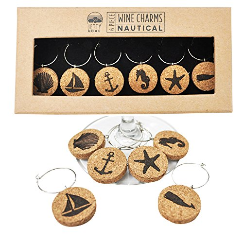 Jetty Home 6 Piece Nautical Beach Wine Glass Charm Gift Set, Cork