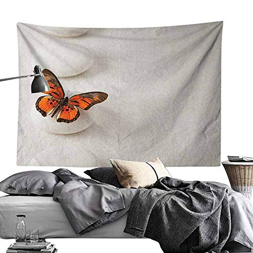 - MaureenAustin Home Decor Tapestry,Spa,Plain Pattern with Butterfly and Rocks Wellness Purity Healing Serenity Bohemian, White Orange Polyester Fabric Wall Art Hanging Home Decor 60