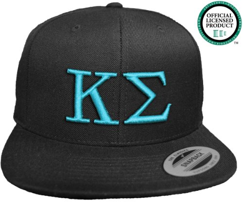 KAPPA SIGMA Flat Brim Snapback Hat Turquoise Letters / Kappa Sig Frat | Fraternity Cap