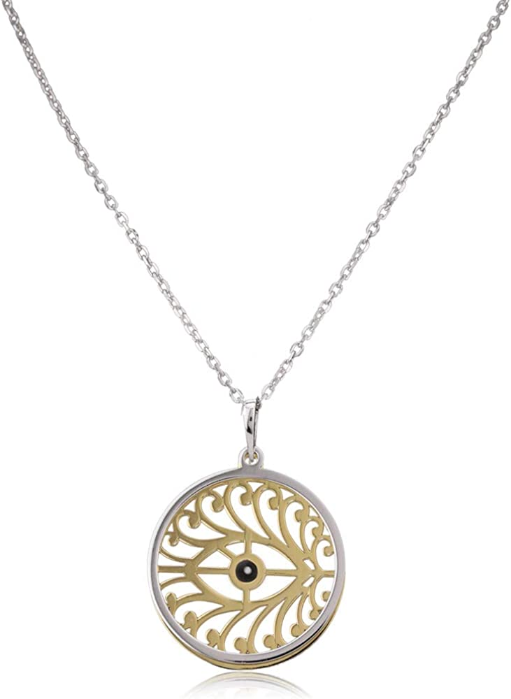 Vanbelle Sterling Silver Jewelry Enamelled Evil Eye Necklace with Yellow Gold and Rhodium Plated for Women and Girls