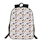 Music Multifunction School Bag,Instruments Drums Speakers Keyboard Headphones Records Blues Music is My Life Theme Decorative For school,One_Size