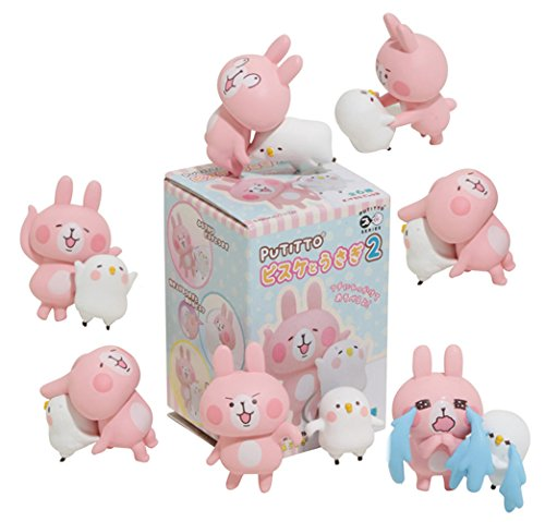 Kitan Club Putitto Kanahei Pisuke and Usagi Cup Toy - Blind Box Includes 1 of 6 Collectable Figurines - Hangs on Thin, Flat Edges - Authentic Japanese Design - Made - Kitty Cafe Cat