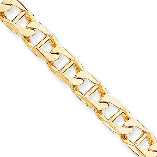10 K 11 mm-hand poli chaîne à maillons couleur or ancre 20,32 cm-mousqueton-jewelryWeb