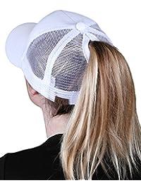 0de3d0e3c82 Funky Junque Womens Baseball Cap Adjustable High Ponytail Messy Bun Mesh  Trucker Hat