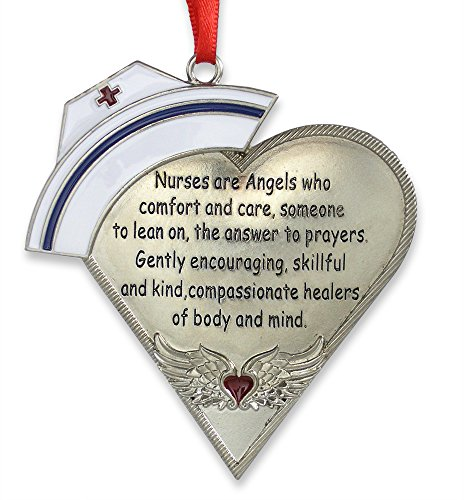 BANBERRY DESIGNS Nurse Heart Shaped Ornament with Message - Engraved Silver Metal with Hand Painted Enamel Caduceus Hat & Heart with Angel Wings - 4