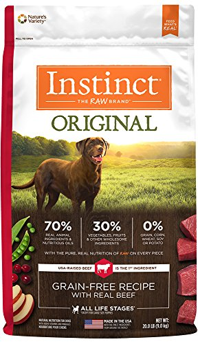 20 Lb Dog Foods (Instinct Original Grain Free Recipe with Real Beef Natural Dry Dog Food by Nature's Variety, 20 lb. Bag)