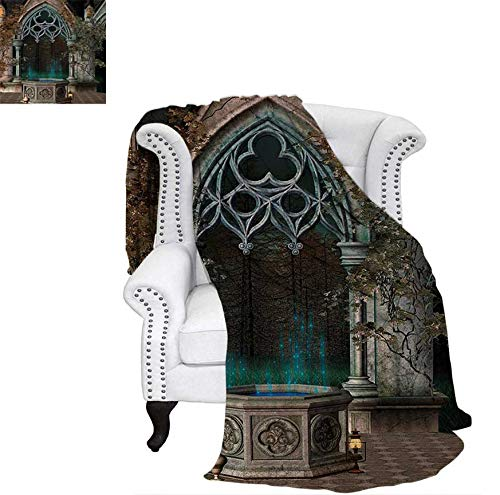 Throw Blanket Mystical Patio with Enchanted Wishing Well Ivy on Antique Gateway to Magical Forest Velvet Plush Throw Blanket 50