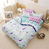 Sookie 3 Piece Duvet Cover Set with 2 Pillow Shams - 800 Thread Count Luxurious&Extremely Durable Premium Bedding Collection - Blue wave Small mermaid pattern - Twin Size