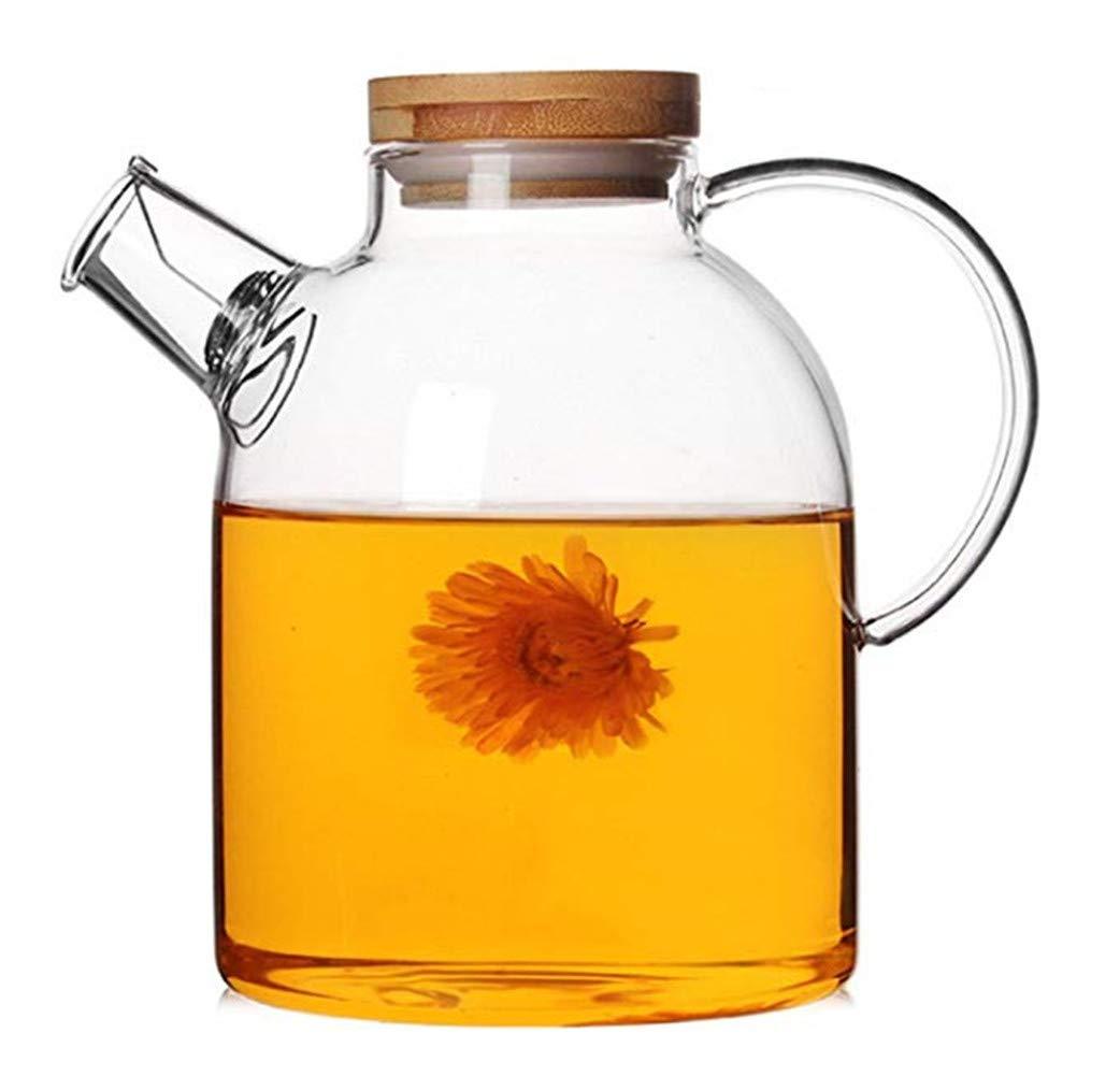 Emoyi 60 ounce Glass Kettle - Pitcher - Heat Resistant Borosilicate Glass - Stove-top Safe Teapot Carafe