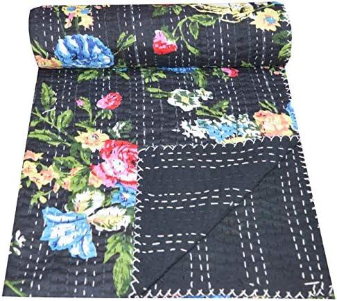 Yuvancrafts Indian Handmade New Frida Kahlo Print Kantha Quilt Twin Size Pure Cotton Single Kantha Throw Blanket Bedspread Gudari