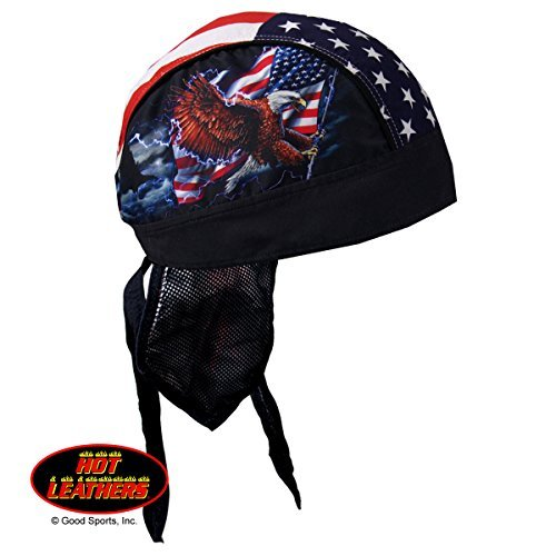 Authentic Bikers Premium Headwraps, FLAG & EAGLE Micro-Fiber & Mesh Lining HEADWRAP