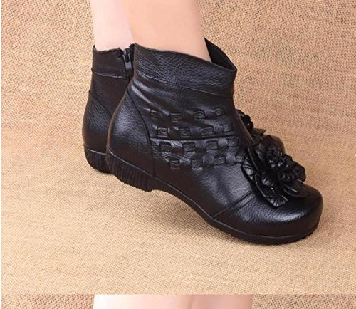 HGTYU-My Mother The Lint Free Cotton Shoes Warm Boots Soft Flat Base Of Older Leather Flowers Black ITiQyHYQ