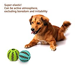 ATPWONZ Dog Toy Ball Pet Food Treat Feeder Tooth Cleaning Ball Nature Rubber Chew Training 2 Pack