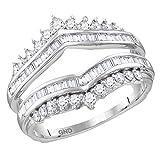 14kt White Gold Womens Round Diamond Wrap Ring Guard Enhancer Wedding Band 3/4 Cttw (I1-I2 clarity; H-I color)
