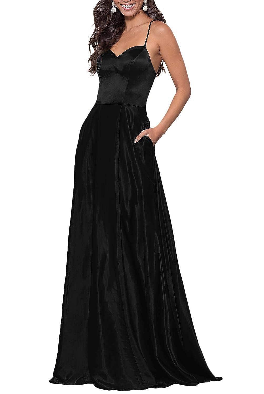 Black YUSHENGSM Women's Sweetheart CorsetBack Satin Prom Dress Long Evening Party Gown Pockets