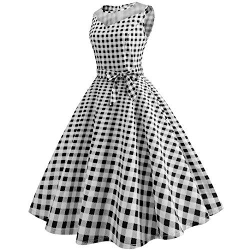 senza maglia Printing Vintage Cocktail Rockabilly Cocktail Vestiti Swing Vestiti Party Patchwork bianco Abito Nero Dress donna sera da maniche Donna Sysnant Dot estate wqznCgFx8