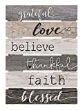 home wall art  Grateful Love Believe Thankful Faith Blessed Grey 17 x 24 Inch Solid Pine Wood Skid Wall Plaque Sign