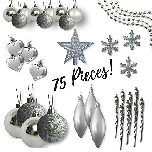 Shatterproof Christmas Ornaments - Assorted Set of 75 Silver Xmas Tree Decorations - Star Tree Topper - Silver Beaded Garland - Silver Ball Ornaments