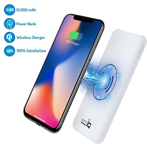 Qi Fast Wireless Charger iPhone X – 10000 mAh Portable Power Bank as 2 in 1 External Battery and Charging Pad for Galaxy Note, Iphone 6, 7, 8 Plus or Samsung S7, S8, S9 Smartphones Mobiles (Black) by Ideas In Life