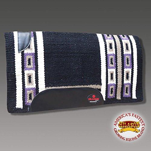 HILASON Western New Zealand Wool Horse Saddle Blanket Black Purple