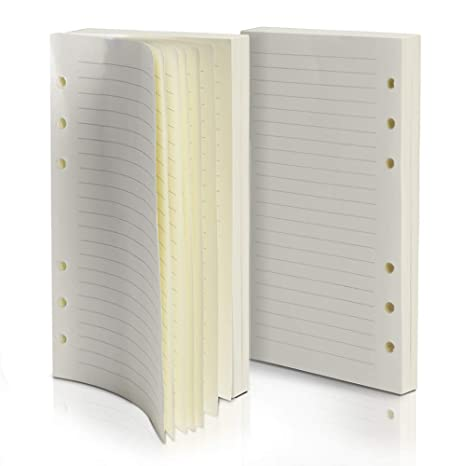 Purture Refill Lined Paper, Leather Journal Refills Lined, 6-Holes Inserts 320 Pages for A6 Refillable Journals Notebooks, 2 Pack(Each Pack 160 Pages)