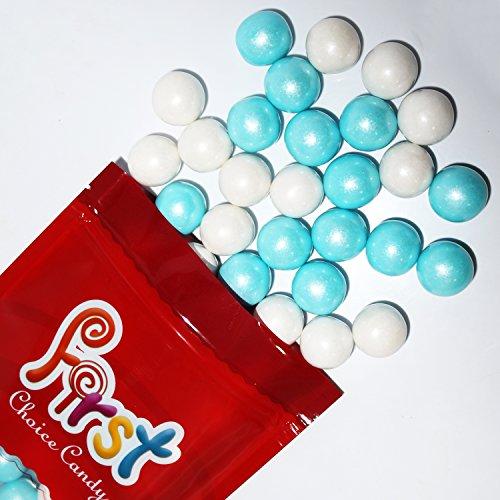 FirstChoiceCandy Shimmer Powder Blue & White 1 Inch Gumballs 1 Pound (Blue White Gum)