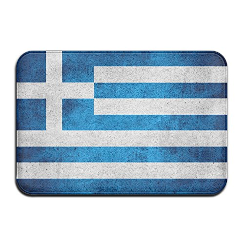 - Yangaaaa Greek Flag Outdoor Rubber Mat Front Door Mats Porch Garage Large Flow Slip Entry Carpet Standard Rug Home 23.62