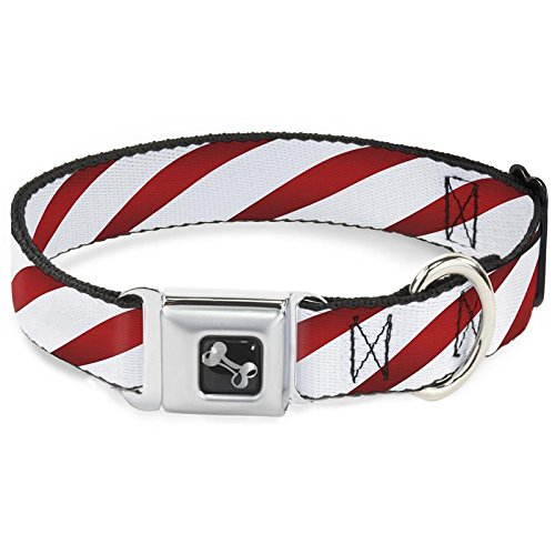 Buckle Down Candy Cane Holiday Dog Collars (Regular Ribbon Width (1