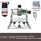 Purewords Mini Diy CNC3018 +5500 mw Laser GRBL control, 3Axis pcb pvb Milling machine, Wood Router Engraver CNC 3018