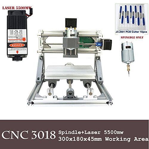 Purewords Mini Diy CNC3018 +5500 mw Laser GRBL control, 3Axis pcb pvb Milling machine, Wood Router Engraver CNC 3018 by Purewords
