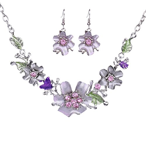 Paxuan Womens Silver Crystal Flower Choker Necklace Drop Dangle Earrings Jewelry Sets Bib Collar Statement Necklace Earring Set (Lavender) Jewelry Sets