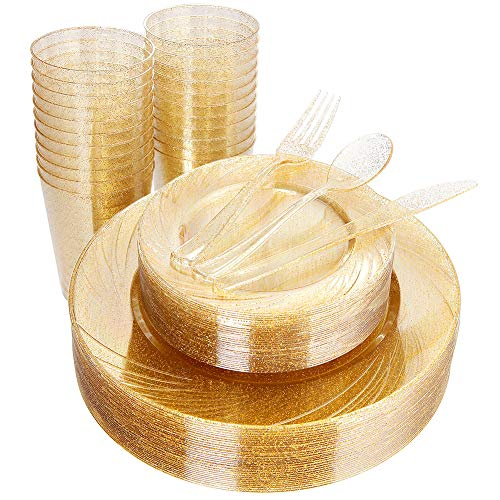 WDF 150pcs Gold Plastic Plates with Disposable Plastic Silverware&Gold Cups- Gold Glitter Design include 25 Dinner Plates,25 Salad Plates,25 Forks, 25 Knives, 25 Spoons& 10oz Plastic Cups (Glitter) -