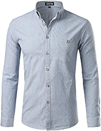 Mens Casual Pinstripe Slim Fit Long Sleeve Button Down Dress Shirts with Pocket/ Striped Tops