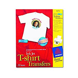 Avery T-Shirt Transfers for Inkjet Printers, 8.5 x 11 Inches, Pack of 12 (03275)