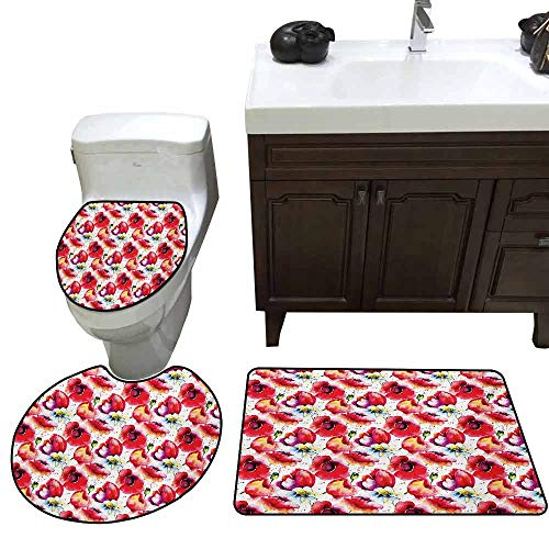Shower mat 3 Piece Set Poppy Colorful Combined Mixed Poppy Flower Petals Pattern Spring Garden Theme Paint Effect Customized Blue Red -