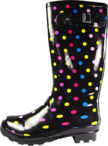 Matte Waterproof amp; Dot Color Women's Rainboots Hurricane NORTY 14 Wellie Multi Hi Prints Calf Glossy and Solids zpwvRaqw