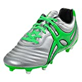 Gilbert Jink Pro 6 Stud Rugby Boot, Silver, US 12