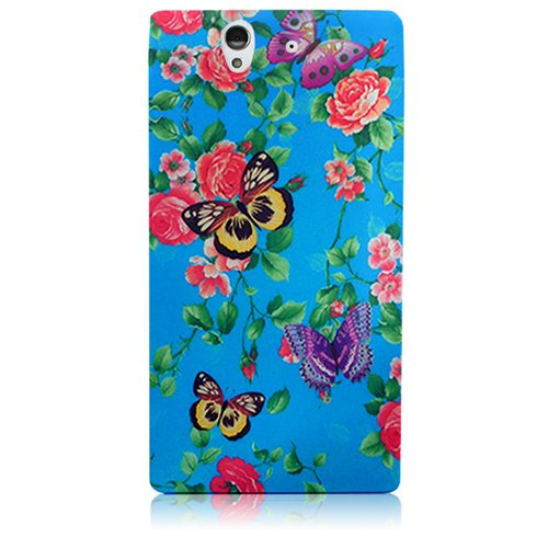 Xtra-Funky Exclusivo Caja de la flor azul suave silicona Floral Para Sony Xperia Z - Diseño B2 B28