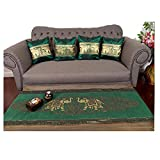 Sofa Set !! 1 Table runner + 4 Cushion Shiny Green King Elephants Beautiful Thai Silk Blend Table/bed Runner Size : 20 Inches X 2 M.