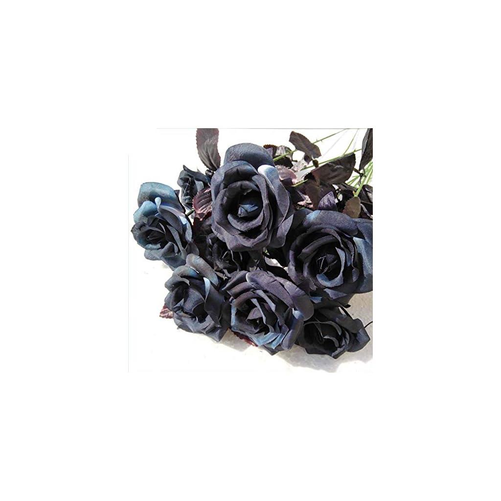TopgalaxyZ-Artificial-Flowers-Black-Roses-25pcs-Fake-Roses-wStem-DIY-Wedding-Bouquets-Centerpieces-Arrangements-Party-Home-Halloween-Decorations-Halloween-Decor-Flower-Party