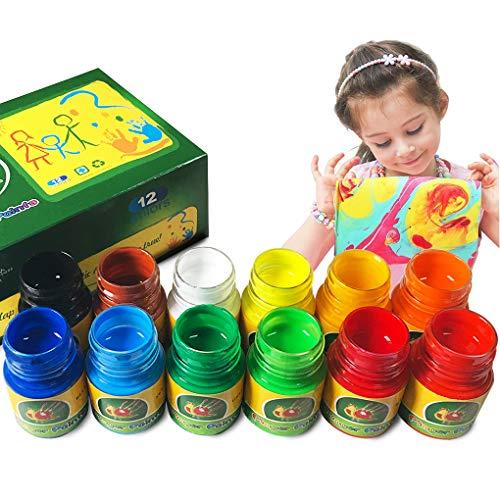 (iMustech 12 Colors Washable Finger Paints Kid's Paint Art Supplies)