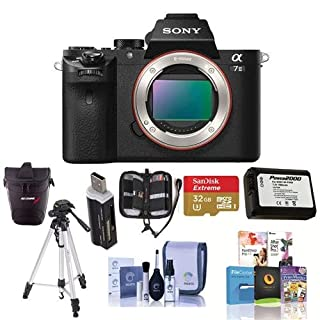 Sony Alpha a7II Mirrorless Digital Camera, 24.3MP - Bundle w/Camera Holster Case, 32GB Class 10 SDHCCard, Spare Battery, Full Size Tripod, Cleaning Kit, SD Card Reader, Card Wallet, HDMI Micro Cable