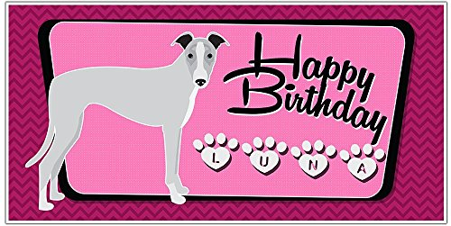 Whippet Dog Puppy Party Birthday Banner Personalized Backdrop Decoration