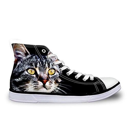 Shoes U Casual for 7 FOR Canvas Women Cat Black Non DESIGNS Top Sneakers Girls High Slip 1xdxwXqU