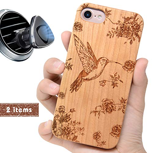 iProductsUS Wood Phone Case Compatible with iPhone 8, 7, 6/6S and Magnetic Mount, Protective Cases Engraved Hummingbird and Flowers,Built-in Metal Plate,TPU Shockproof Cover (4.7 inch) (Wood Hummingbird)