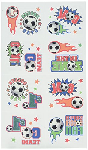 [Amscan Soccer Goal Birthday Party Tattoo (16 Pack), Multi Color, 9.2 x 4.2