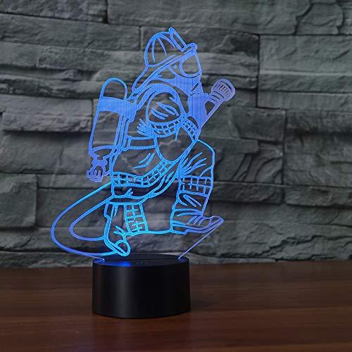 3D Feuerwehr Nachtlicht LED USB Touch Button 7 Farbe Feuerwehr Tischlampe Nacht dekorative Beleuchtung Geschenk ZKYB