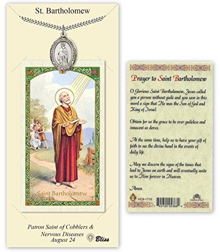 (Pewter Saint Bartholomew the Apostle Medal with Laminated Holy Prayer Card)